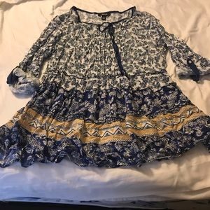 Style & co. Blue floral babydoll top
